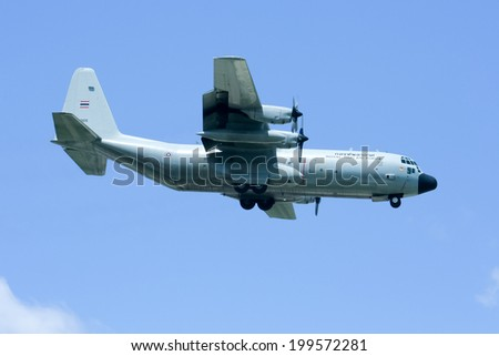 CHIANGMAI , THAILAND - APRIL 16 2009: 60105 C-130 of Royal Thai Air force. Landing to Chiangmai Airport.