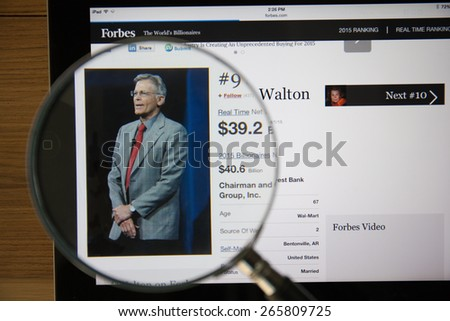CHIANGMAI, THAILAND - April 1, 2015: Photo of Forbes article page about Jim Walton