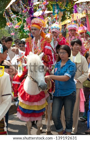 CHIANGMAI,THAILAND-APRIL 5 : Poy-Sang-Long festival,A  ceremony of unidentified boys to become novice monk,during in parades around township to Wat Pa Pao on April 5,2013 in Chiangmai city, Thailand.