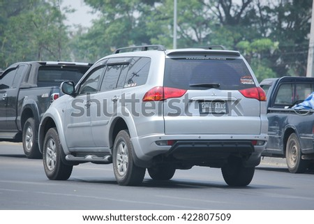 CHIANGMAI, THAILAND -APRIL 29 2016:  Private car of Mitsubishi Pajero Suv Car.  Photo at road no.121 about 8 km from downtown Chiangmai, thailand.