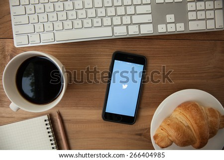 "CHIANGMAI,THAILAND - APRIL 4, 2015: Twitter is an online social networking and microblogging service that enables users to send and read ""tweets"", limited to 140 characters. - stock photo"
