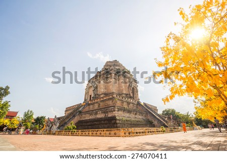 CHIANGMAI,THAILAND - 30 APRIL, 2015 :Wat Chedi Luang temple. Wat Chedi Luang is a Buddhist temple in the historic centre of Chiang Mai, Thailand - stock photo