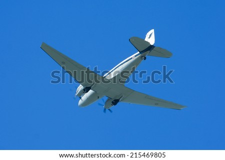 CHIANGMAI , THAILAND -AUGUST 26 2009: 46159 Basler BT-67 (DC-3) of Royal Thai Air force. Landing to Chiangmai Airport.