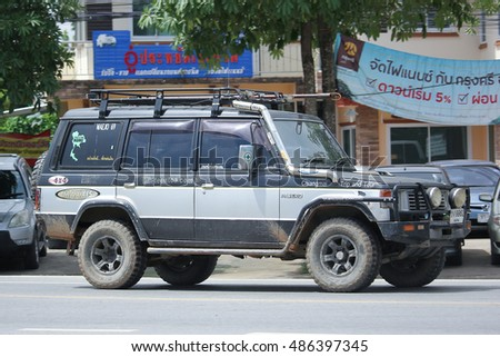 CHIANGMAI, THAILAND -AUGUST 18 2016:  Old Mitsubishi Pajero Suv Car. On road no.1001, 8 km from Chiangmai city.