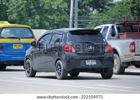 CHIANGMAI, THAILAND -AUGUST 21 2015: Private car, Mitsubishi Mirage. Photo at road no 121 about 8 km from downtown Chiangmai, thailand.