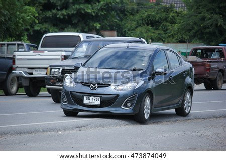 CHIANGMAI, THAILAND -AUGUST 9 2016:  Private Eco car, Mazda 2. On road no.1001, 8 km from Chiangmai Business Area.