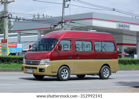 CHIANGMAI, THAILAND -AUGUST 13 2015:  Private van. Nissan Urvan Van from Japan. Photo at road no.1001 about 8 km from downtown Chiangmai, thailand.