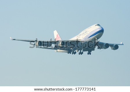 CHIANGMAI ,  THAILAND - DECEMBER  5 2008: B-18206 Boeing 747-400 of  China airline. Landing to Chiangmai airport from Amsterdam. - stock photo