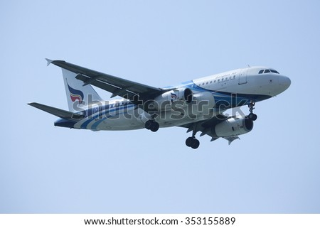 CHIANGMAI, THAILAND -DECEMBER 16 2015:  HS-PPM Airbus A319-100 of Bangkokairway. Landing to Chiangmai airport from Samui.
