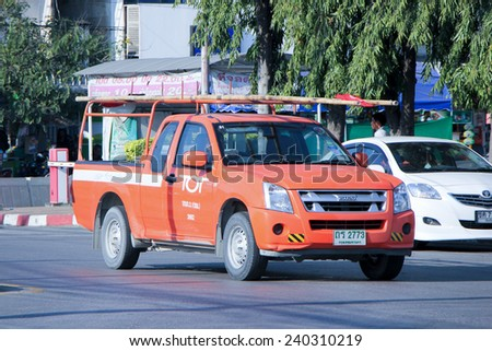 CHIANGMAI, THAILAND - DECEMBER 27 2014: Mini truck of Tot company.Intenet and Telephone Service in Thailand. Photo at Chiangmai bus station, thailand. - stock photo