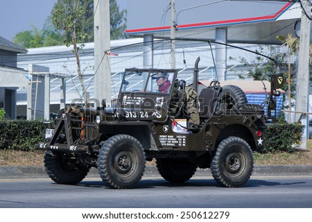 CHIANGMAI , THAILAND - DECEMBER 23 2014: Old Jeep Private car. Photo at road no 1001 about 8 km from downtown Chiangmai, thailand. - stock photo