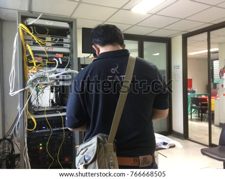 CHIANGMAI-THAILAND. December,01,2017. System administrator upgrades network system. The Rajanagarindra Institute of Child Development Chiang Mai.