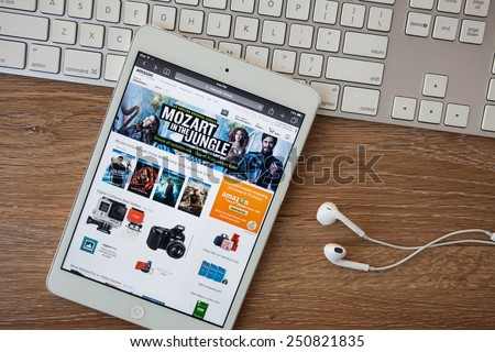 CHIANGMAI, THAILAND - FEB 8 ,2015: Amazon.com, the largest online seller, is offering customers up to $5 off their purchase of the same items scanned in any other companies' stores - stock photo
