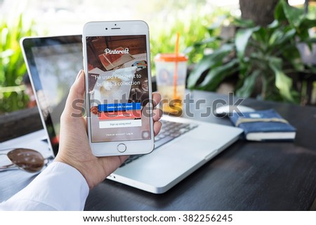CHIANGMAI,THAILAND - FEB 22 ,2016 : Close-up shot of brand new Apple iPhone 6 plus with Pinterest application login on a screen. - stock photo