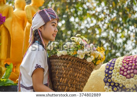 CHIANGMAI, THAILAND - 6 February 2016 : An unidentified woman Chiang mai Flower Festival 40th , Thailand.