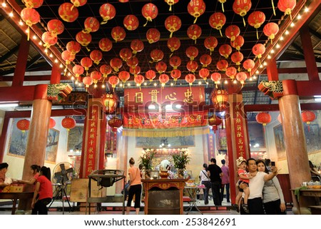 CHIANGMAI THAILAND - FEBRUARY 18 : Chinese New Year in Thailand. Tourists come to worship God in the pray of Chinese New Year every year. to Warorot market. on February 18, 2015 in Chiang Mai,Thailand
