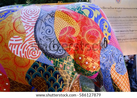 Chiangmai Thailand February 5 2017:Elephant Statue in Chiang Mai Flower Festival 2017 on February 5,2017 in Chiangmai,Thailand