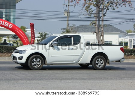 CHIANGMAI, THAILAND -FEBRUARY 16 2016:   Private Pickup car, Mitsubishi.  On road no.1001, 8 km from Chiangmai city.