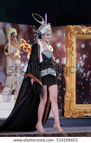 CHIANGMAI, THAILAND - Jan 3, 2017 : Miss Chiangmai 2017 beauty pageant first walk in Lanna Creative Costume round at the Chiangmai Winter Festival 2017 centre stage.