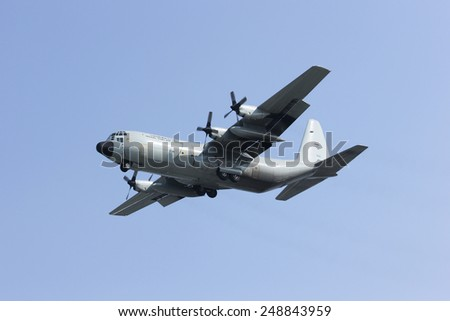 CHIANGMAI, THAILAND- JANUARY 31 2015: 60111 C-130 of Royal Thai Air force. Landing to Chiangmai Airport.