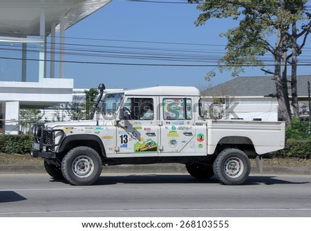 CHIANGMAI, THAILAND -JANUARY 13 2015: Old Private Land Rover Truck. Photo at road no.1001 about 8 km from downtown Chiangmai, thailand.
