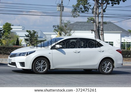 CHIANGMAI, THAILAND -JANUARY 2 2016:  Private car, Toyota Corolla Altis. Photo at road no 121 about 8 km from downtown Chiangmai, thailand.
