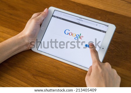 CHIANGMAI, THAILAND - JULY 26, 2014: Google is an American multinational corporation specializing in Internet-related services and products. Most of its profits are derived from AdWords. - stock photo