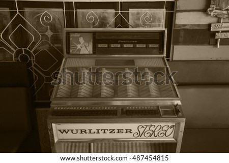 CHIANGMAI, THAILAND - JULY 30, 2016: Old styled image of a vintage  jukebox