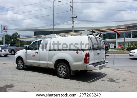 CHIANGMAI, THAILAND -JULY  4 2015:  Pickup truck of True company. Intenet Service in Thailand. Photo at road no 121 about 8 km from downtown Chiangmai, thailand. - stock photo