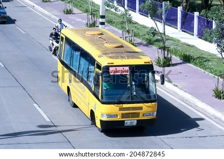 CHIANGMAI, THAILAND- -JUNE 10 2007 :American pacific School bus. Photo at road no.106 about 5 km from downtown Chiangmai, thailand.  - stock photo