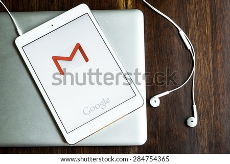 CHIANGMAI, THAILAND -JUNE 05, 2015:Apple iphone 5s displaying Gmail application. - stock photo