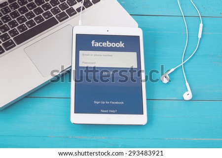 CHIANGMAI, THAILAND -JUNE 30, 2015:Facebook is an online social networking service founded in February 2004 by Mark Zuckerberg with his college roommates and is now a fortune 500 company. - stock photo