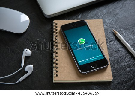 CHIANGMAI, THAILAND - JUNE 9, 2016 : Whatsapp is social Internet service. it can be send text messages, documents, images, video, user location and audio messages. - stock photo