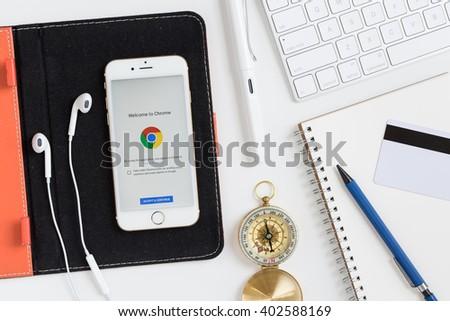 chiangmaithailand mar 01 2016 google chrome screen of apple iphone 6s apple thailand office