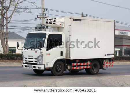 CHIANGMAI, THAILAND -MARCH 11 2016:  Cold Container Truck for Ice Transportation. Photo at road no.121 about 8 km from downtown Chiangmai, thailand.
