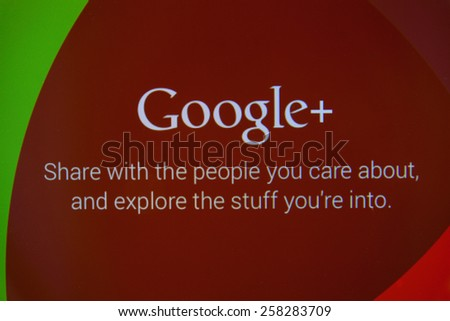 CHIANGMAI, THAILAND - MARCH 6, 2015: Google+ is Google's social network service to compete with Facebook and launched in late June 2011 - stock photo