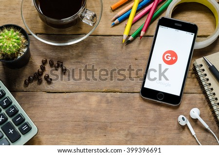 CHIANGMAI, THAILAND -MARCH 31,2016: Google plus apps showing on iphone 6s.Google Plus is an interest-based social network that is owned and operated by Google Inc. - stock photo