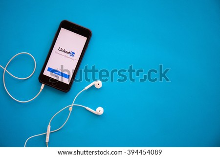 CHIANGMAI,THAILAND - MARCH 22, 2016:Linkedin app. Linkedin is a social networking website for people in professional occupations. - stock photo