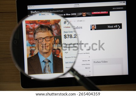 CHIANGMAI, THAILAND - March 31, 2015: Photo of Forbes article page about Bill Gates