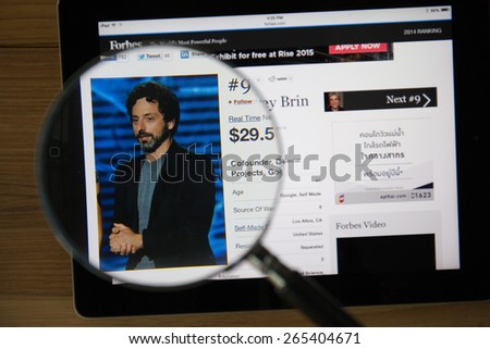 CHIANGMAI, THAILAND - March 31, 2015: Photo of Forbes article page about Sergey Brin