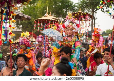 CHIANGMAI,THAILAND-MARCH 3 :Poi Sang Long festival, a ceremony where boys become novice monk, during in parade around Huay Mak Leim village on March 3,2015 in Fang district,Chiangmai,Thailand - stock photo