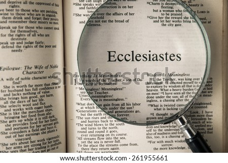 "CHIANGMAI, THAILAND, March 17,2015. Reading The New International Version of the Holy Bible on the book of "" ecclesiastes "" at home. March 17,2015"