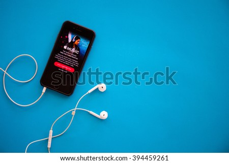 CHIANGMAI,THAILAND - MARCH 22, 2016:Screen shot of Apple music app showing on iPhone 6. Apple Music is the new iTunes-based music streaming service that arrived on iPhone - stock photo