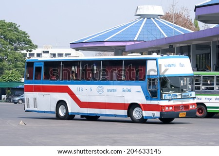 CHIANGMAI, THAILAND- MARCH 23 2007: Thavornfarm tour company bus no.118-5 route Nakhonsawan and Chiangmai. Photo at Chiangmai bus station, thailand.