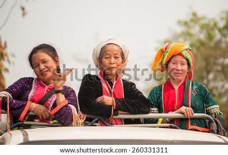 CHIANGMAI,THAILAND - MARCH 11, 2015: Unidentified Palaung senior womann in the Palaung traditional costume pose for the camera. Palaung people is a minority ethnic group living in northern Thailand. - stock photo