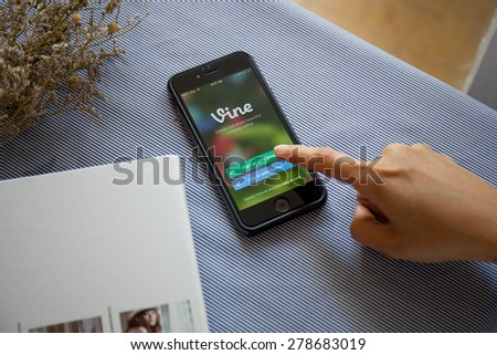 CHIANGMAI, THAILAND -MAY 17, 2015:Apple iphone 6 displaying Vine application. Vine is a short-form video sharing service. Founded in June 2012 - stock photo