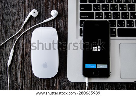 CHIANGMAI, THAILAND -MAY 22, 2015:Apple iphone 5s displaying Myspace application. - stock photo