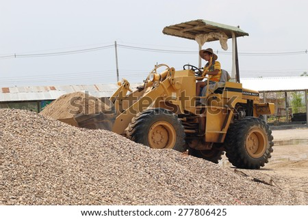 ChiangMai Thailand-May 11, 2015-capacity sand scoop loader. When the 2015 May 11. - stock photo