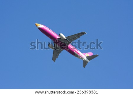 CHIANGMAI , THAILAND- MAY 26 2007: HS-TDD Boeing 737-400 of NokAir airline ( Low-cost Airline), Takeoff from Chiangmai airport to Bangkok Don Muang Airport, thailand. - stock photo