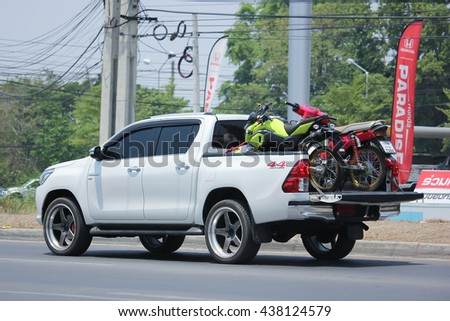CHIANGMAI, THAILAND -MAY 10 2016:   Private Pickup car, Toyota Hilux Revo Duoble Cab 4X4. Photo at road no 121 about 8 km from downtown Chiangmai, thailand.